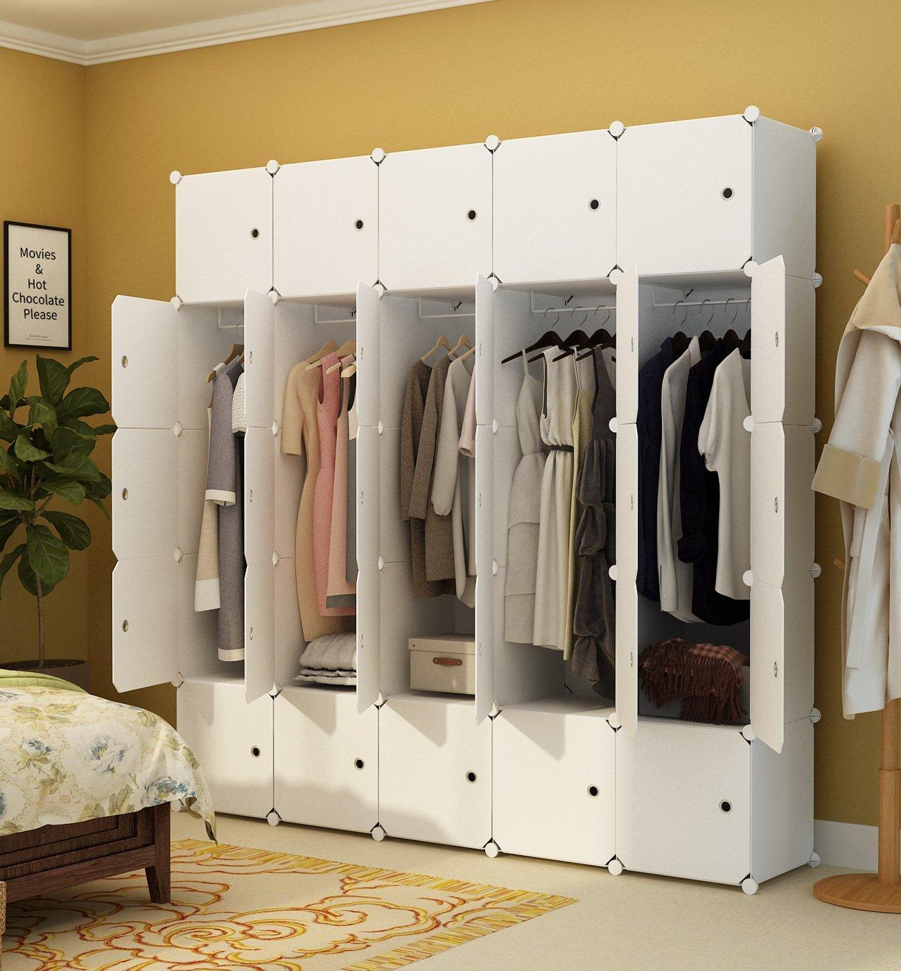 großhandel tragbarer kleiderschrank zum aufhängen von kleidung,  kombinationsschrank, modularer schrank zum platzsparen, weiß, 10 würfel + 5  hängeteile