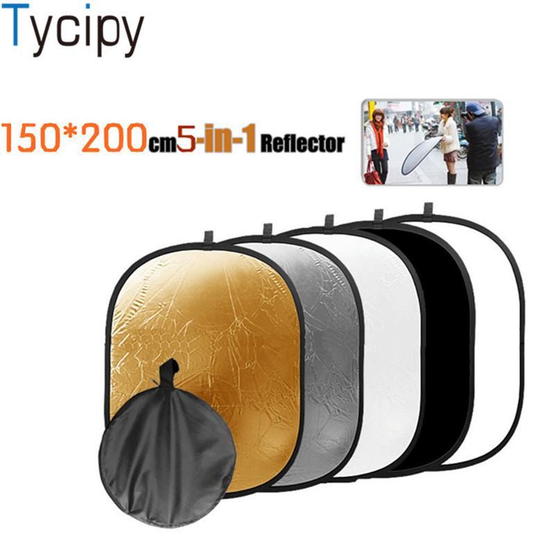 Tycipy 5 - in - 1 150 * 200cm Reflecor 휴대용 접을 수있는 빛 반사경 둥근 사진 스튜디오를위한 백색 반사체 다중 사진