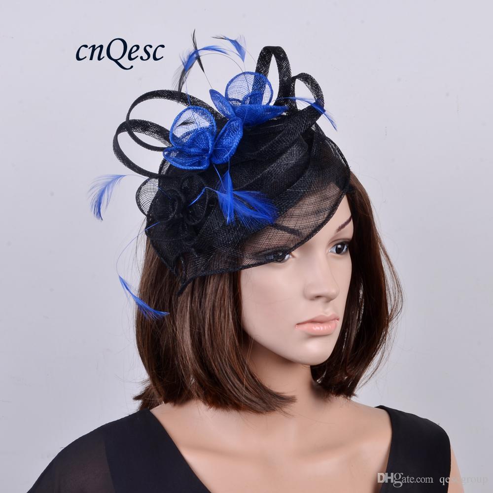 NUOVO ARRIVO fashion design esclusivo Cappello sinamay con piume per Kentucky derby, matrimonio, gare, festa, chiesa