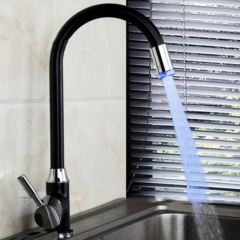 الجملة الصمام 3 اللون تغيير حوض الحمام بالوعة الحنفية سطح جبل اللوحة السوداء وحيد مقبض مطبخ أسود + فضي