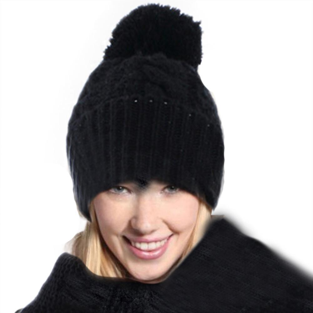 1 مجموعة المرأة الدافئة قبعة الشتاء الصوف اليدوية محبوك الصوف هود وشاح شال قبعات القبعات الصلبة دعوى pompom الأزياء بونيه