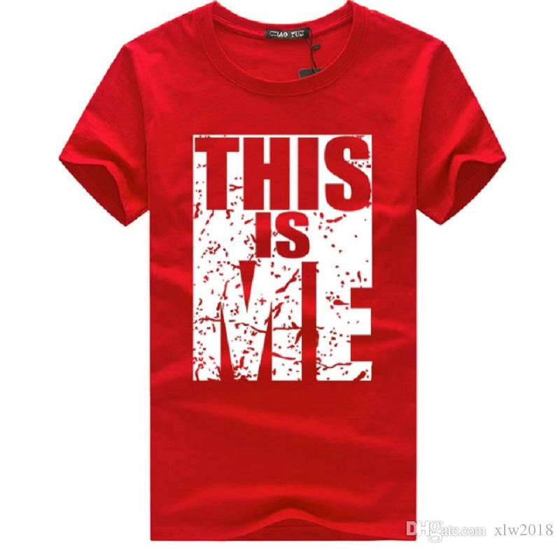 Erkek T Shirt, BU ME ME Kelimeler Baskı Kısa Kollu Beyaz / Gri / Kırmızı / Siyah Adam için Serin Tees