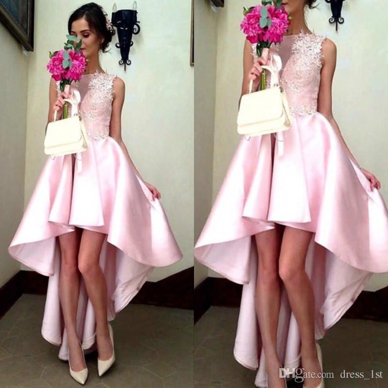 Modest 2017 Pink High Low Prom Dresses Cheap Bateau Lace Applique Elastic Silk Like Satin Short Front Long Back Formal Party Gown EN12272