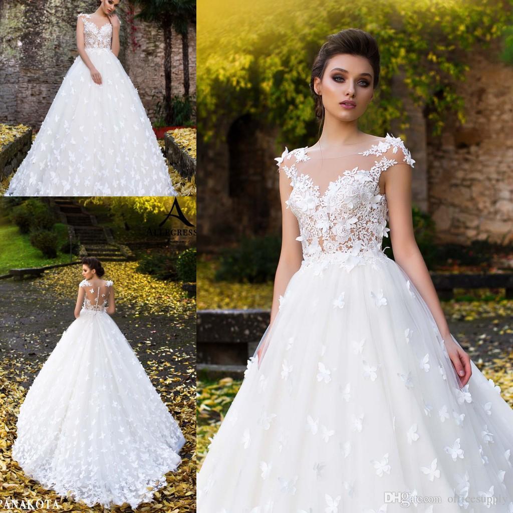 Atemberaubende White Ballkleid Brautkleider Sheer Neck Button Zurück Gericht Zug mit Handmade Butterfly Brautkleider Vestido De Novia