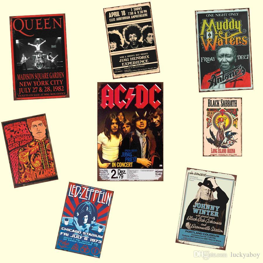 Venta caliente Música Banda de Rock ACDC Retrol cartel de chapa Placas de Metal Regalo PUB Wall art Painting Poster Bar home Restaurante Decoración