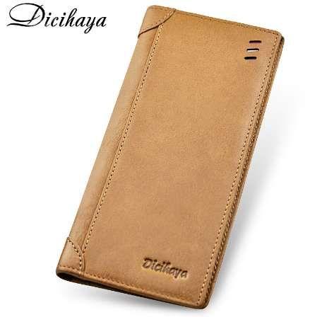 DICIHAYA натуральная кожа мужчины кошелек мужской кошелек длинный кожаный бумажник кредитной карты держатель кошельки бренд простой тонкий кошелек
