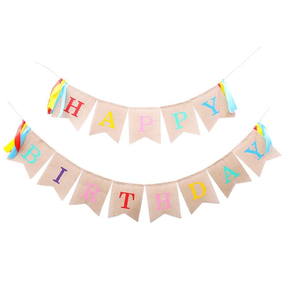 Décoration De Fête Joyeux Anniversaire Bannière Enfants Favorise Bébé Douche Linge Bruant Drapeau Anniversaire Fournitures
