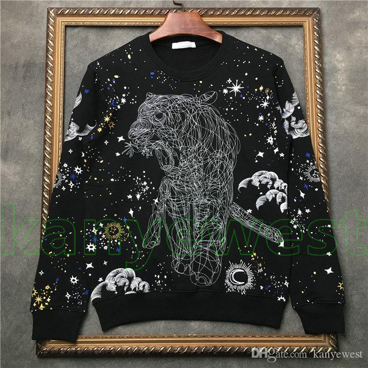 Moda Jesień Gorący Odzież Designer Bluzy Męskie Swetry Pullover Z Długim Rękawem Wysokiej Jakości Szkic Tiger Drukuj Bluza z kapturem Bluza