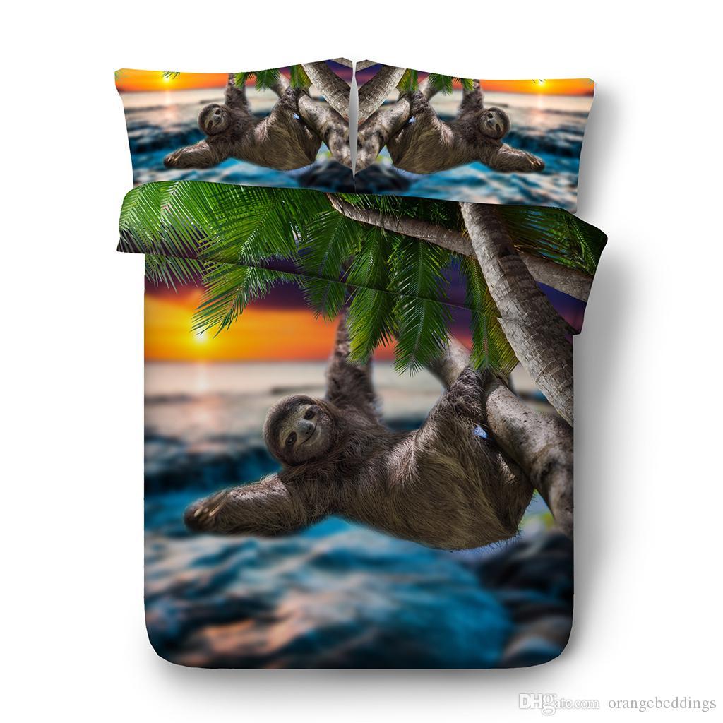 3D Sloth cama conjuntos completos de edredon colchas Tampa Dolphin Lençois filhos gêmeos para meninas Quilt Covers animais galáxia Pillow Shams têxteis lar