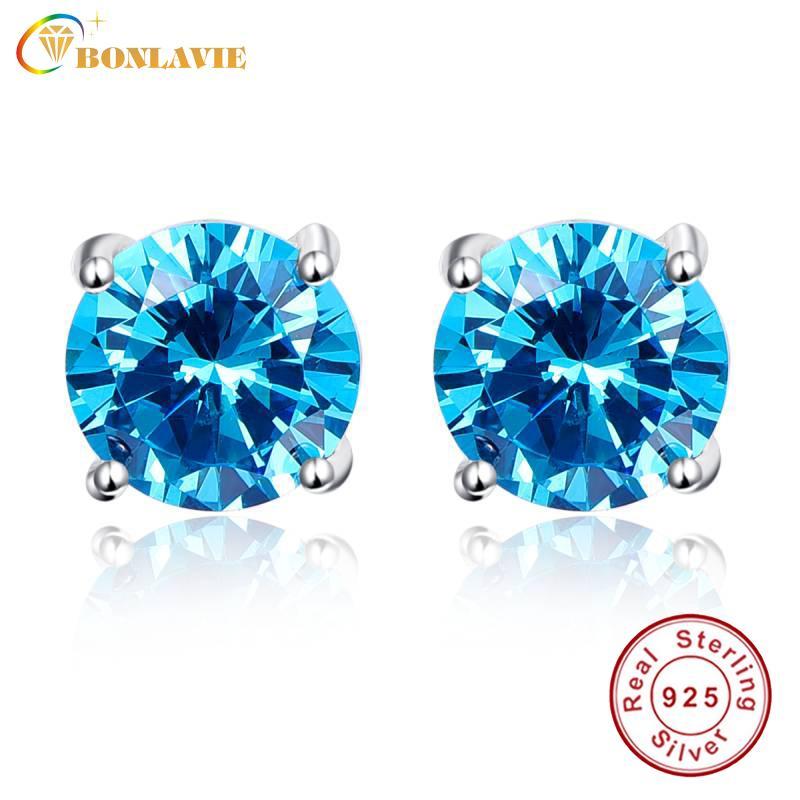 BONLAVIE Lüks Topaz Küpe Toptan 925 Gümüş Saplama Küpe Kadınlar için Yuvarlak 5.9ct Mavi Topaz Damızlık Küpe Düğün Y18110110