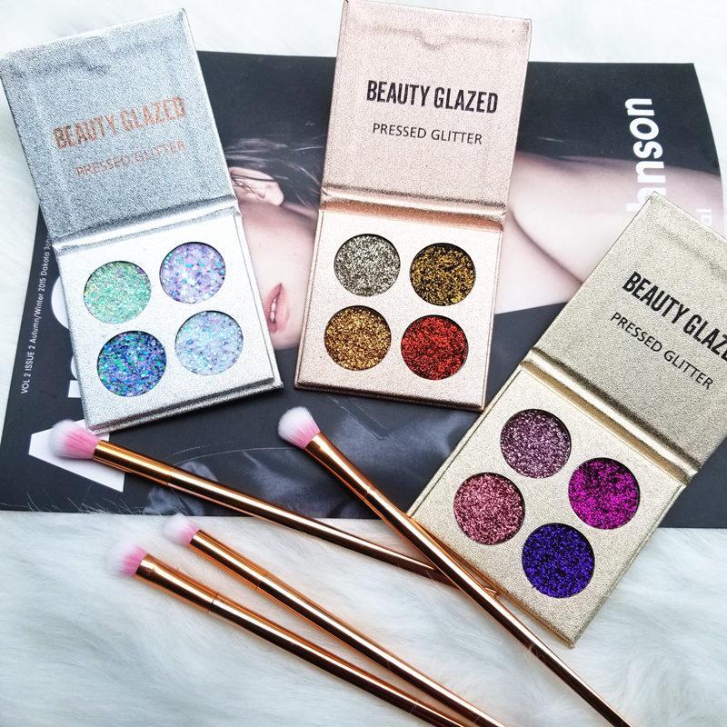 Schönheit glasiert 4 Farben Lidschatten-Palette Matt Diamond Glitter vereitelt Lidschatten in einer Palette Blush Make-up-Set für die Schönheit