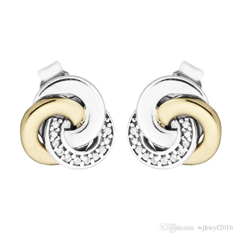 New Authentic 925 Sterling Silver Earring Interlinked Circles With Crystal Studs Earring For Women Wedding Gift Fine Europe Jewelry