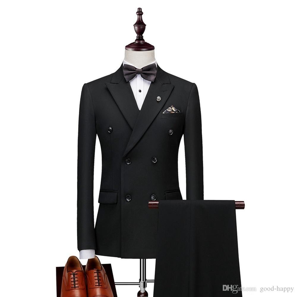 Brand new homens negros smoking de casamento de alta qualidade do noivo smoking lapela double-breasted homens blazer 2 peça suit (jaqueta + calça + gravata) 1381