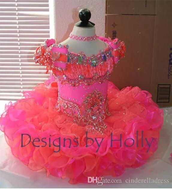 Pink Princess Cupcake Girls Pageant Dresses Mini Organza Ball Gown Bows Beads Lovely Short Little Baby Skirts For Party Birthday Event