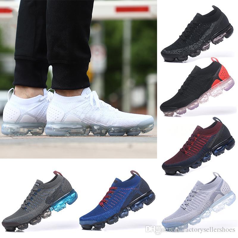 جودة عالية جديد 2018 VapoMax 2.0 الرجال والنساء الاحذية أحذية رياضية أحذية رياضية أسود أبيض المشي أحذية المشي دون مربع