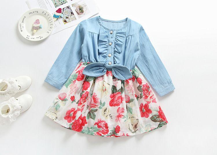 طويل الأكمام طفل الفتيات الدنيم اللباس التنانير الجديدة الخريف الفتاة من الزهور مع ملابس الأطفال القوس بوتيك