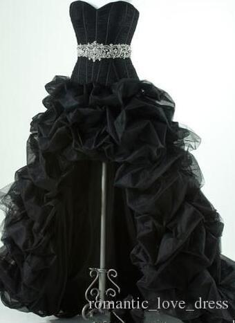 Gothic Black High Low Vestidos de novia 2019 Venta caliente Nueva Custom Beads Crystal Sash Sweetheart Ruffled Organza Tulle vestidos de novia W070
