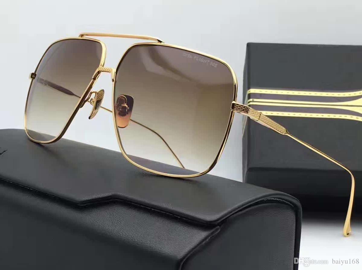 Vintage gouden pilot vierkante zonnebril goud / bruin gearceerde occhiali da zool mannen zonnebril glazen nieuw met doos