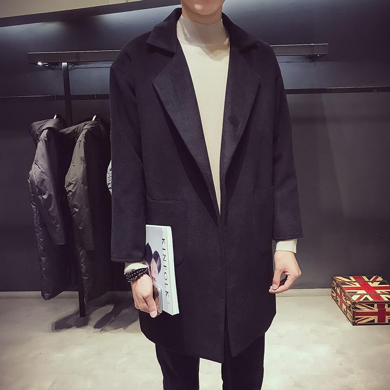 긴 트렌치 코트 남자 베이지 남성 자켓 슬리브 t- 셔츠 가죽 스웨터 코트 벨트 나일론 카디 건 블랙 Mens Winter f37