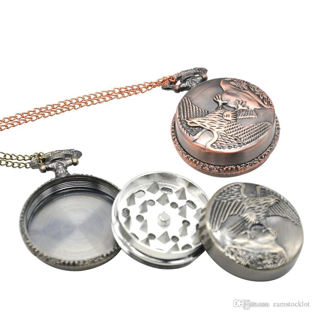 Honeypuff Elegant Desigh Herb Grinder Magnetic Metal Grinder Trituradora El reloj de bolsillo Tipo 3 Capa Especia Tabaco Gadget