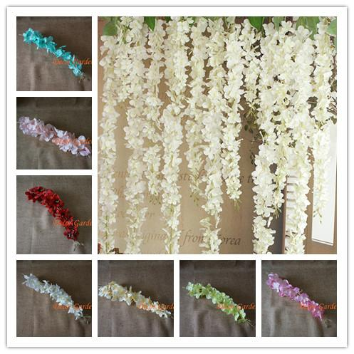 50pcs Artificial Hydrangea Wisteria Flower For Diy Simulation Wedding Arch Square Rattan Wall Hanging Basket Decorative