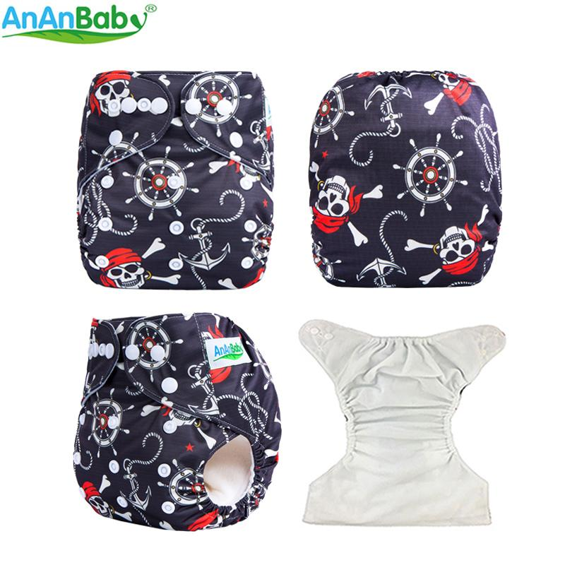 2018 Ananbaby Reusable Pocket Diaper Cloth Cartoon Prints Unisex Washable Baby Diapers