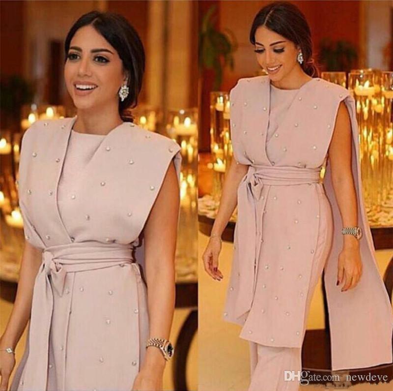 2020 Abiti da sera rosa con cinghie Capo Satin tuta Beads moderni vestito convenzionale abiti del partito Custom Made abito speciale occasione