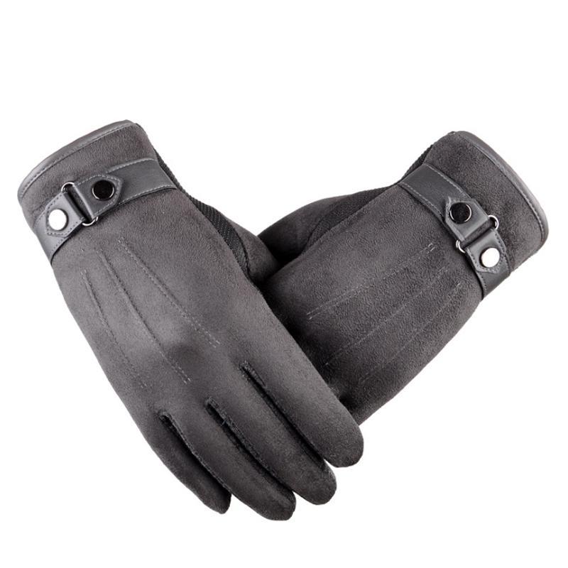 Guanti da uomo touch screen autunno inverno plus in cashmere spessi guanti caldi in pelle foderata in pile termica maschile guanto guida Mitaine