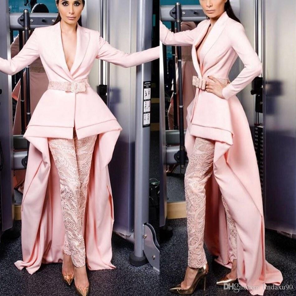 Krikor Jabotian Pembe Tulumlar Abiye Uzun Kollu Dantel Pantolon Balo Abiye Kadınlar için Uygun Custom Made Parti Elbise