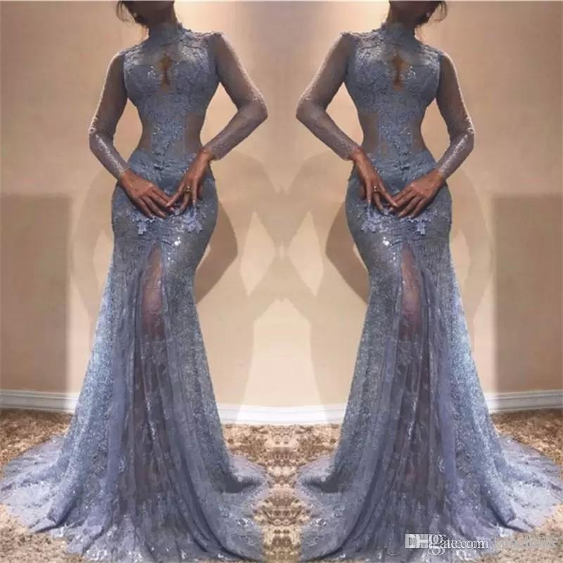 Gorgeous Zuhair Murad Full Lace Evening Dresses 2020 High Neck Mermaid Illusion Long Sleeves See Through Prom Dresses Lavender Party Dress