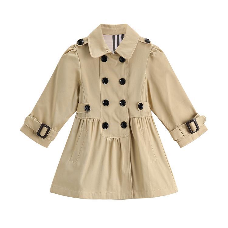 Elegante chica trench coat Inglaterra estilo sólido chaqueta de abrigo para 2-8years niñas niños niños moda ropa de abrigo ropa