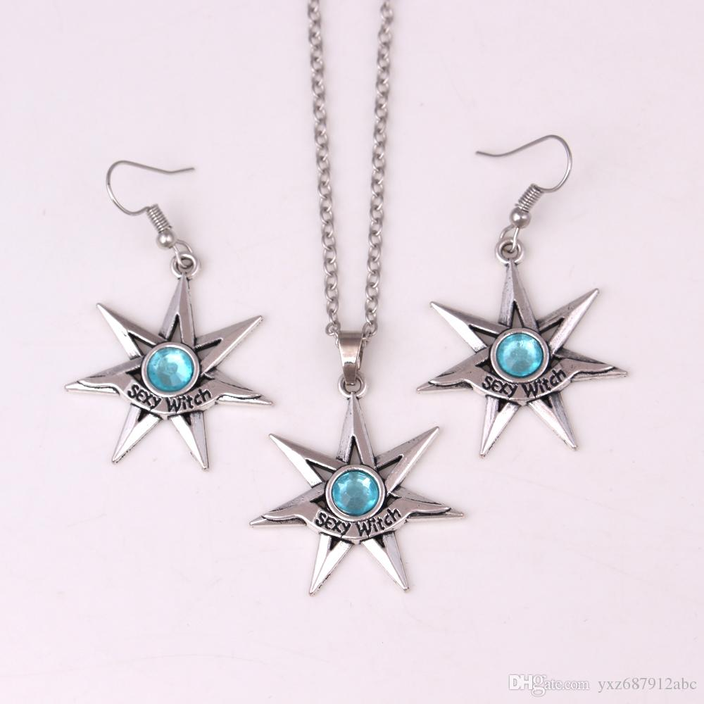 Drop Shipping Fashion Sexy Witch Necklace Earring Set FAERY STAR Pendant With Crystal Choice - Fairy Fae Magick Jewelry Sets
