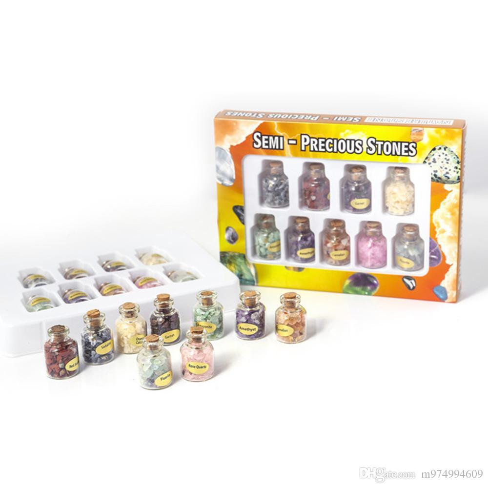 9 Mini Natural GemStone Bottles Quartz Crystal Tumbled Chips Crystal Stone Mineral Specimen Wishing Bottle Craft Souvenir Set