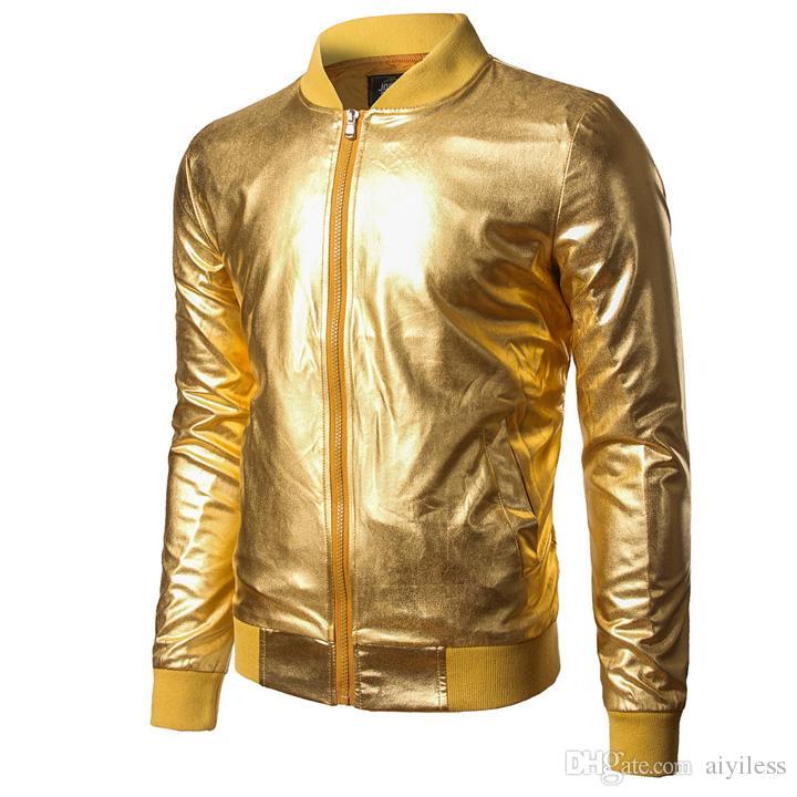 Frieed Mens Stand Collar Bomber Biker Zipper Baseball Sport Club Metallic Jacket