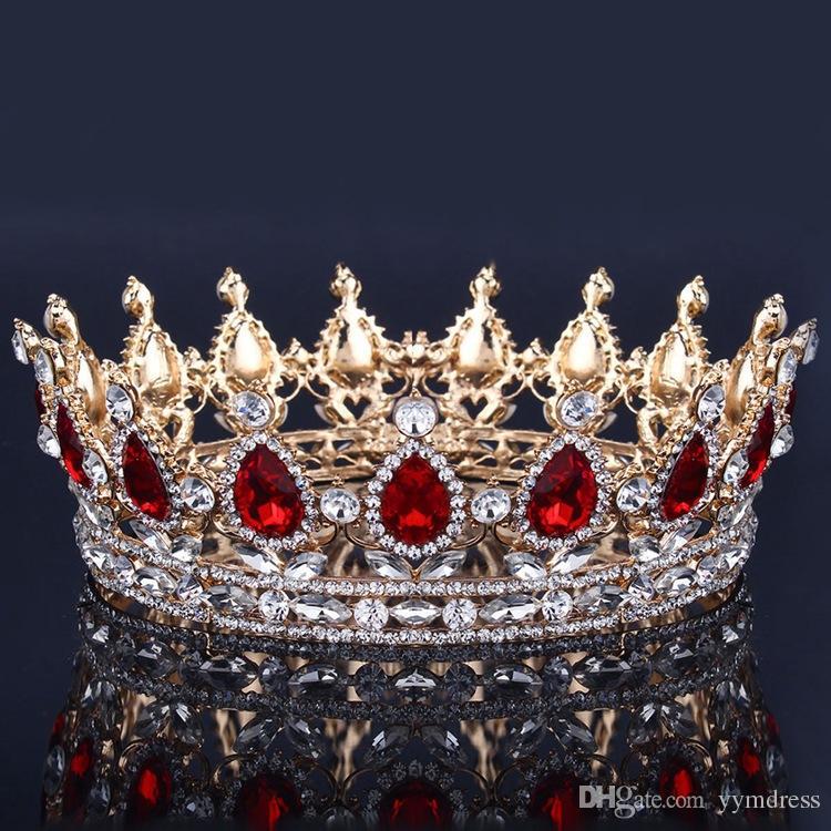 Corona nuziale di lusso Cristalli di strass Royal Wedding Crowns Princess Crystal Accessori per capelli Festa di compleanno Diademi Quinceaner Sweet 16