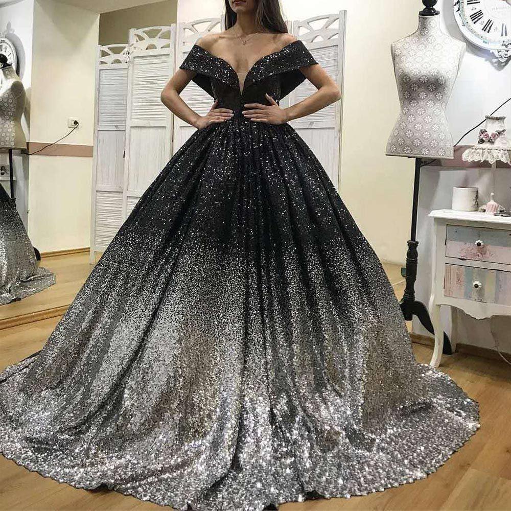 Bling Bling Prom Dresses fuori dalla spalla Paillettes Black and Sliver Ball Gown lunghezza del pavimento Puffy abiti da sera