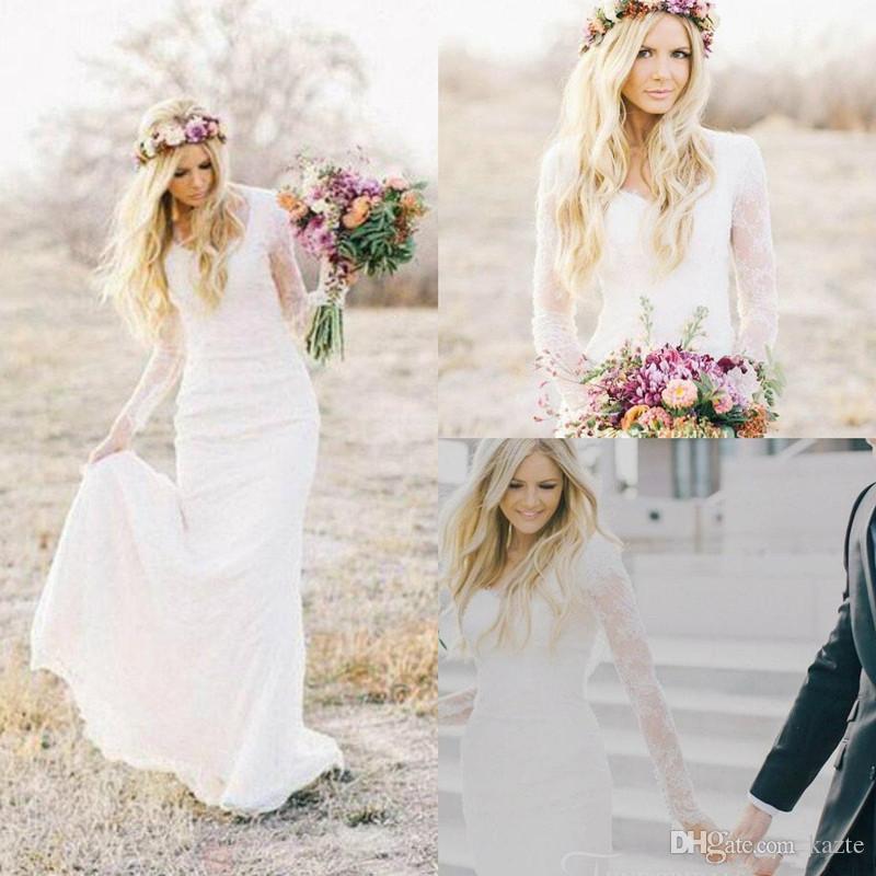 Modest Mermaid Robes De Mariée V Couleur Dentelle Balayer Sheer Manches longue Manches Élégantes Robes de mariée Country Été Robe de mariée pas cher