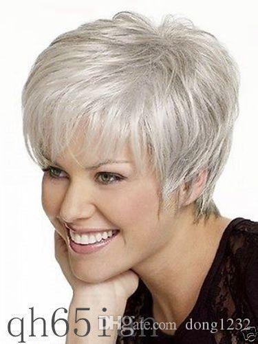 LMJF348 haute qualité courte mode droite gris blanc santé perruques de cheveux perruque