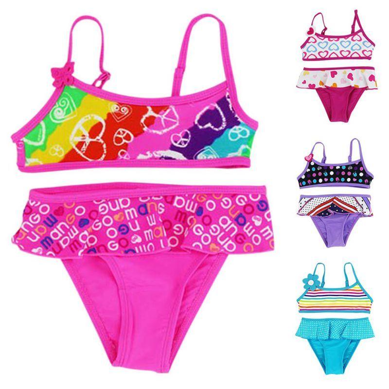 Summer Girls Split Bikini a due pezzi Costumi da bagno per bambini Costumi da bagno Baby Floral Swimming Suit Girl Beachwear