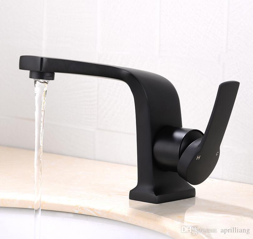 Bathroom Basin Sink Faucet Hot Cold Water Wash Spout Nozzle Mixer Single Handle Hold Brass Bath Tap Deck Mounted Black Finishes