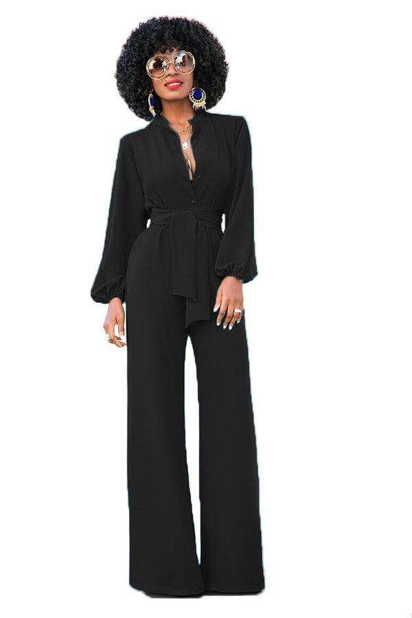 Aletterhin Jumpsuits For Women 2018 Autumn Winter Sexy Long Sleeve Solid Rompers EleCasual Long Pants Wide Leg Jumpsuits