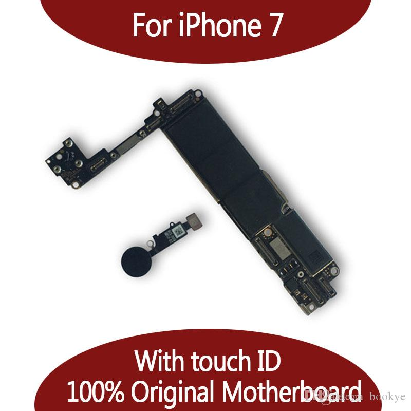 For iPhone 7 32GB 128GB Motherboard with Touch ID & Fingerprint,Original Unlocked Logic board Free Shipping