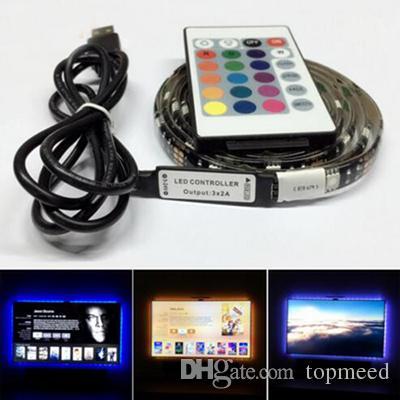 أدى ماء 5V LED قطاع الخفيفة 0.5M 1M 2M 30leds مرنة 5050 RGB TV الخلفية USB كيبل والبسيطة تحكم عيد الميلاد أضواء