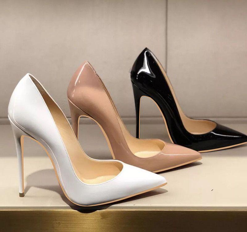 Ücretsiz kargo moda kadın pompaları siyah beyaz çıplak rugan nokta ayak yüksek topuklu ayakkabılar Stiletto topuklu pompalar gerçek fotoğraf marka yeni