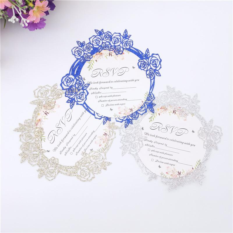 50pcs 꽃 반짝이 종이 레이저 컷된 초대 카드 결혼식 초대장 카드 봉투 결혼식 장식 용품