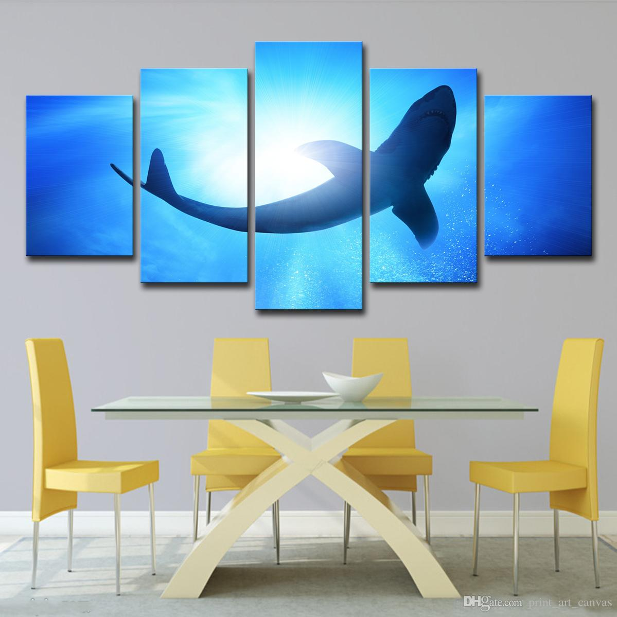 Leinwand Wandkunst Bilder Foto Moderne HD Gedruckt Home Decor 5 Stücke Big Shark Malerei Tiefblauen Meer Ozean Poster