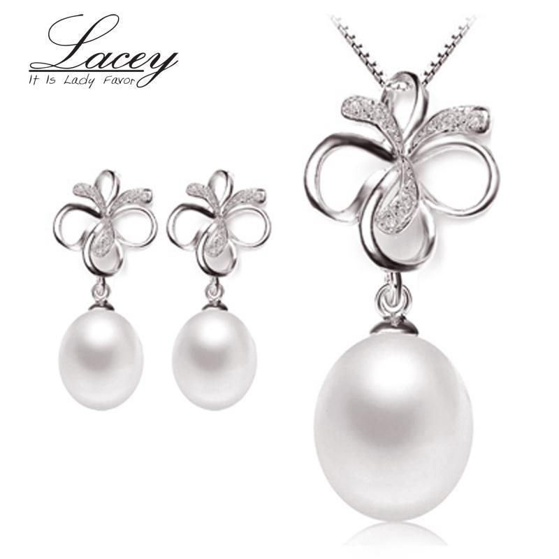 FACEY tatlısu inci takı setleri kadınlar, doğal inci setleri takı 925 gümüş güzel kadınlar trendy hediye beyaz pembe