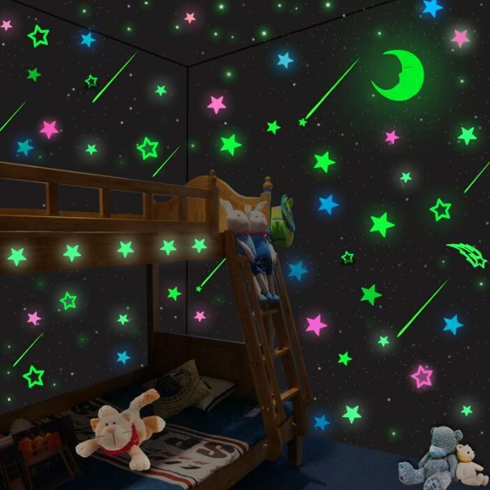 Luminosa princesa gril decorações de parede vara bonito brilho adesivos para quartos dos desenhos animados adesivos de parede fluorescente magia adesivos de parede crianças brinquedo