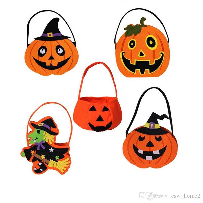 Halloween DIY Pumpkin Candy Bag Tote Bucket Basket Halloween Ornament Decor Props Party Festival Children Kids Fun Gift Bags