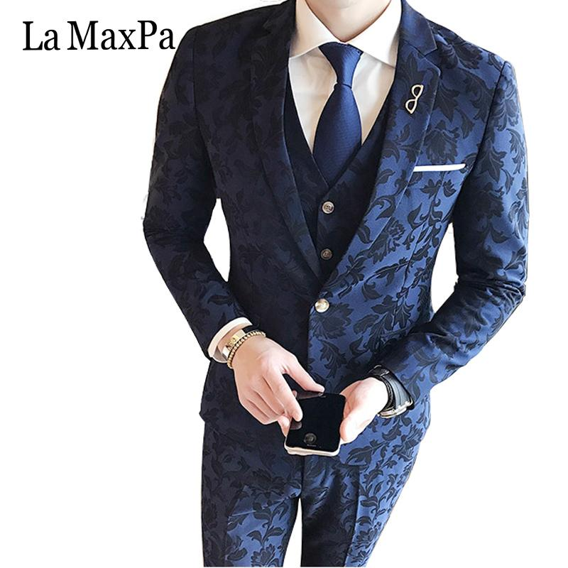 La MaxPa (jacket+pants+vest) Fashion  male singer men suit spring casual suit slim fit groom party wedding prom dress suits
